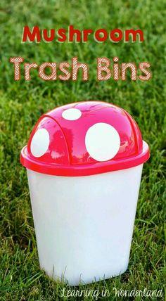 Mushroom trashcans. Super clever