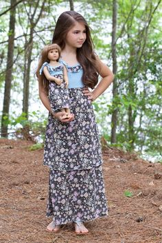 Lilli Lovebird Maxi dress with matching doll dress for 18inch dolls such as #AmericanGirl Colors: taupe & light blue #LilliLovebird #matchingdressforgirlsanddolls
