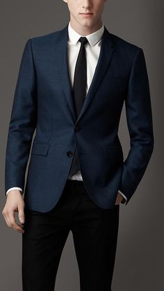 Modern Fit Wool Silk Blend Jacket | Burberry - love the Ink Blue color