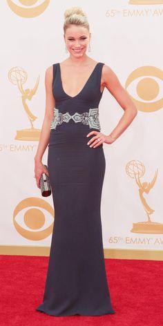 Katrina Bowden in Badgley Mischka and David Yurman jewels at the 65th Annual Primetime Emmy Awards, 2013