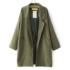 Army Green Lapel Pockets Loose Trench Coat | Victoriaswing