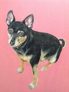 custom pet portrait painting on canvas dog cat by SWISHandWAG