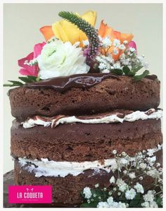 Chocolate naked cake...torta de chocolate boda (La Coqueta)
