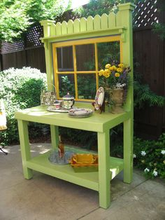 Our grass green potting bench with a combination of warm saffron, and periwinkle blue trim is sure to make any garden a happier place!