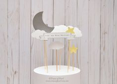 Over The Moon Baby Shower Cake Topper Set, 6- Moon, Stars, Clouds - DIY Party Decor, Cake Toppers, Centerpiece, Gender Reveal, Twinkle Star by TracesofPearl on Etsy https://www.etsy.com/au/listing/488485063/over-the-moon-baby-shower-cake-topper