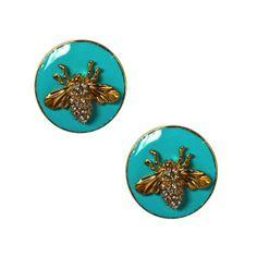 Bee Earrings with Turuqoise Enamel