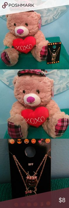 Best Friends Forever Necklace, Great 4 Valentine's Oh so cute this adorable plush bear that measures 14 inch standing from top of cute plaid pink hat to his matching plaid feet holding that cute heart with xoxo , plus these duo of cute BFF Necklaces, one for u n one for ur BFF :-) Great Valentine's gift.. I ship same day or following unless it's weekend or holiday Accessories Jewelry
