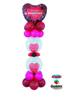 A spectacular balloon column with double-stuffed Deco Bubbles and topped with a Microfoil Heart would make a perfect surprise. Contact a balloon professional near you! #qualatex #balloons #valentines #heart