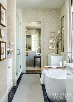 The bathroom also reflects soothing and cool blues and grays, with a distinctive, tonal and textured wallcovering unifying the space with the master bedroom. Windsor Windows, Shower Tile, Staining Wood, House, Staining Wood Floors, Wall Coverings, Bathroom, Upstairs Bedroom, Bath Countertops