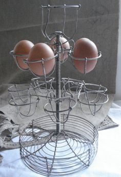 vintage french bistro metal wire eggs stand display by sissidavril, $75.00