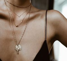 layered gold jewelry + a really good tan #GoldJewelleryNecklace