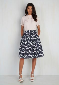Fashion Frenzy Skirt by ModCloth - Blue, Pink, Grey, Multi, Mint, Print with Animals, Print, Casual, Full, Summer, Exclusives, Private Label, Mid-length, Pockets, Nautical, Spring, SF Fit Shop