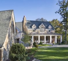 Stone Residence 1 - traditional - exterior -  like the metal roof on the porch