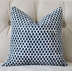 Blue White Ikat Indigo - Block Print - Designer Pillow by Motif Pillows, $36.00+