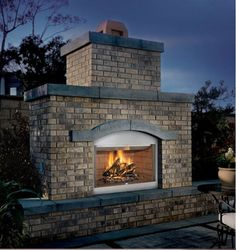 """FMI  42"""" Outdoor Wood Burning Fireplace with Natural White Brick Liner"""