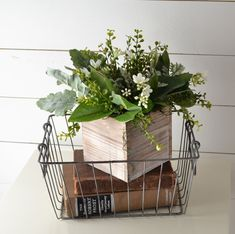 Farmhouse Centerpiece, Greenery and Flowers in a Rustic, Wooden Box; Wire Basket Decor, Basket Decoration, Wire Baskets, Country Decor, Rustic Decor, Farmhouse Decor, Rustic Wooden Box, Fixer Upper Decor, Rustic Centerpieces