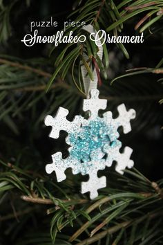 Puzzle Piece Snowflake Ornament: good idea to do with puzzles that are missing pieces!
