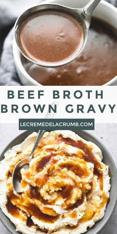 Savory beef broth brown gravy has just the right flavor and is easy to prep in just 10 minutes with only 5 ingredients - perfect for meats and potatoes. Beef Dishes, Food Dishes, Side Dishes, Molho Gravy, Beef Gravy Recipe, Brown Gravy Recipe With Beef Broth, Easy Gravy Recipe Without Drippings, Beef Gravy From Drippings, Recipes Using Beef Broth