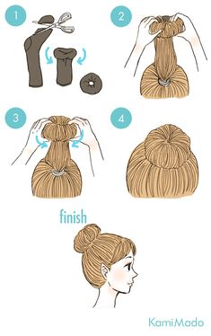Easy · Easy Ching - curly hair arrangement with socks - with illustration . Easy · Easy Ching - curly hair arrangement with socks - with . Sock Bun Hairstyles, Hairdos For Curly Hair, Cute Quick Hairstyles, Fast Hairstyles, Easy Hairstyles For Long Hair, Curly Hair Styles, Hair Arrange, Natural Hair Styles For Black Women, Pinterest Hair