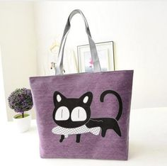 Black Cat with Treat Lavendar Tote Bag