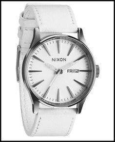 Nixon Sentry Leather Silver White Dial Stainless Steel Unisex Watch A105391