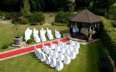 Outdoor ceremony - red carpet aisle - summer wedding - sussex weddings