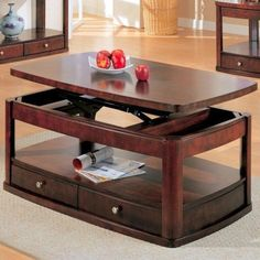 Evans Contemporary Rectangular Lift Top Cocktail Table with Storage