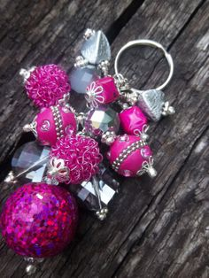 Smoky Fuschia Beaded Key Chain by TheCraftRoomStore on Etsy
