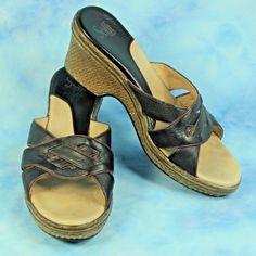 bd084fde0292 Details about Sofft Womens 10 M Sandals Black Brown Leather Wicker Wedge  Heel Comfort Platform