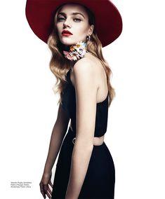 Anna Jagodzinska wears elegant hat for Harper's Bazaar Mexico Magazine December 2015 Photoshoot