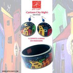 "-Bijoux dipinti a mano. ""Cartoon City Night"" Linea Paysage Tutte le creazioni sul sito www.artelisanti.com - Hand-Painted Bijoux. ""Cartoon City Night"" Paysage line All works in the website www.artelisanti.com"