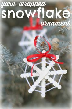 Yarn Wrapped Snowflake Ornaments:  A great fine motor activity and a cute ornament!