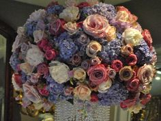 Vintage roses and hydrangea centrepiece -   by appointment only design