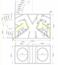 Skema Box Line Array 12 Inch plus Tweeter 12 Subwoofer Box, Subwoofer Box Design, Speaker Box Design, Speaker Plans, Loudspeaker, Door Design, Planer, 18th, Black Spider