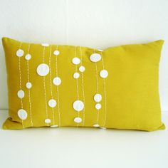linen pillow cover with felt circles #pillow #furniture