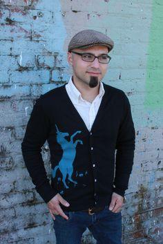 Unicorn Cardigan in Black  Unisex by MartyMay on Etsy, $28.00