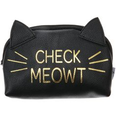 Check Meowt Cosmetic bage ❤ liked on Polyvore featuring beauty products, beauty accessories, bags & cases, bags, accessories, cosmetic bag, travel kit, cat makeup bag, makeup purse and make up bag