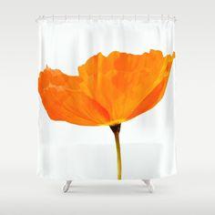Orange Poppy Shower Curtains