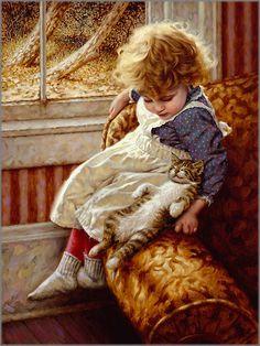 """Résultat de recherche d'images pour """"peintures jeunes enfants avec chats"""""""