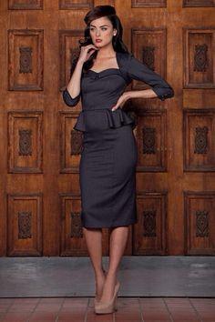 ff8fbf2b8f302d Black peplum dress Vintage Inspirierte Kleider, Vintage-stil Kleider,  Rockabilly Mode, Retro