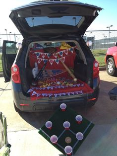 Fall Festival Take Me Out To The Ballpark. 21 Clever Trunk or Treat Ideas. Trunk or Treat Using Bamb Halloween Car Decorations, Halloween Games, Holidays Halloween, Halloween Crafts, Halloween Party, Halloween Ideas, Halloween Signs, Christmas Crafts, Halloween Costumes