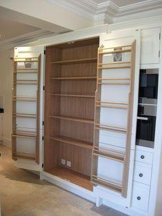 Bespoke Larder Cupboard No drawers Kitchen Larder Cupboard, Kitchen Storage, Pantry Design, Kitchen Design, Kitchen Furniture, Kitchen Decor, Handmade Kitchens, Bespoke Kitchens, Country Kitchen