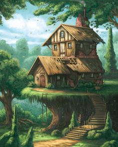 Architectural Hobbyist Picture fantasy, environment, concept art, architecture, house) The simple truth is this Fantasy City, Fantasy House, Fantasy Places, Fantasy Kunst, Fantasy World, Fantasy Forest, Medieval Fantasy, Fantasy Concept Art, Fantasy Artwork