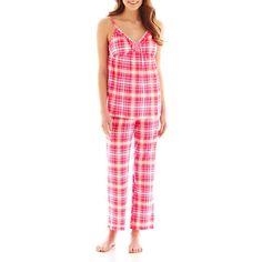 NWT Ladies PJ Couture Cami & Capri Pants Pajama Set - Pink Plaid - Size Large #PJCouture #PajamaSets