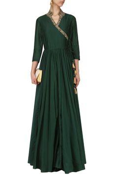 SAMANT CHAUHAN Green Embroidered Angrakha Anarkali