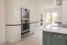 Contemporary high gloss lacquer doors with Gaggenau Appliances New Kitchen, Kitchen Ideas, Bottle Rack, Larder, Minimalist Kitchen, Contemporary, Modern, High Gloss, Extensions