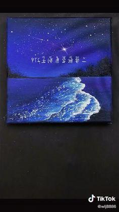 Easy Canvas Art, Simple Canvas Paintings, Small Canvas Art, Easy Art, Easy Acrylic Paintings, Easy Nature Paintings, Meaningful Paintings, Black Canvas Art, Ocean Paintings