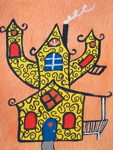 """""""Curly Cue Fun House""""  Original Painting  Artist Trading Card"""