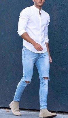 fashion  mensfashion  menswear  mensoutfits  Denim  jeans  mensjeans   fashstop · Vaqueros RotosEstilo UrbanoModa HombreModa ... 7f9f99480a7