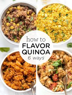 Not a fan of the flavor of quinoa? We're showing you how to flavor and cook quinoa 6 easy ways! We've got tips and tricks, plus some tried and true healthy recipes like Mexican quinoa, lemon turmeric, Spanish quinoa, Italian quinoa bowls and more! Healthy Vegan Breakfast, Healthy Cooking, Cooking Recipes, Healthy Eating, Cilantro, Plant Based Meal Planning, How To Cook Quinoa, Cooked Quinoa, Sweet Potato Curry